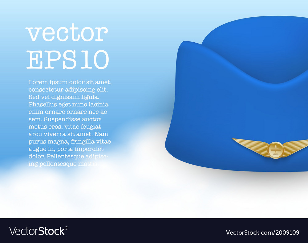 Stewardess Hat Of Air Hostess Uniform Royalty Free Vector