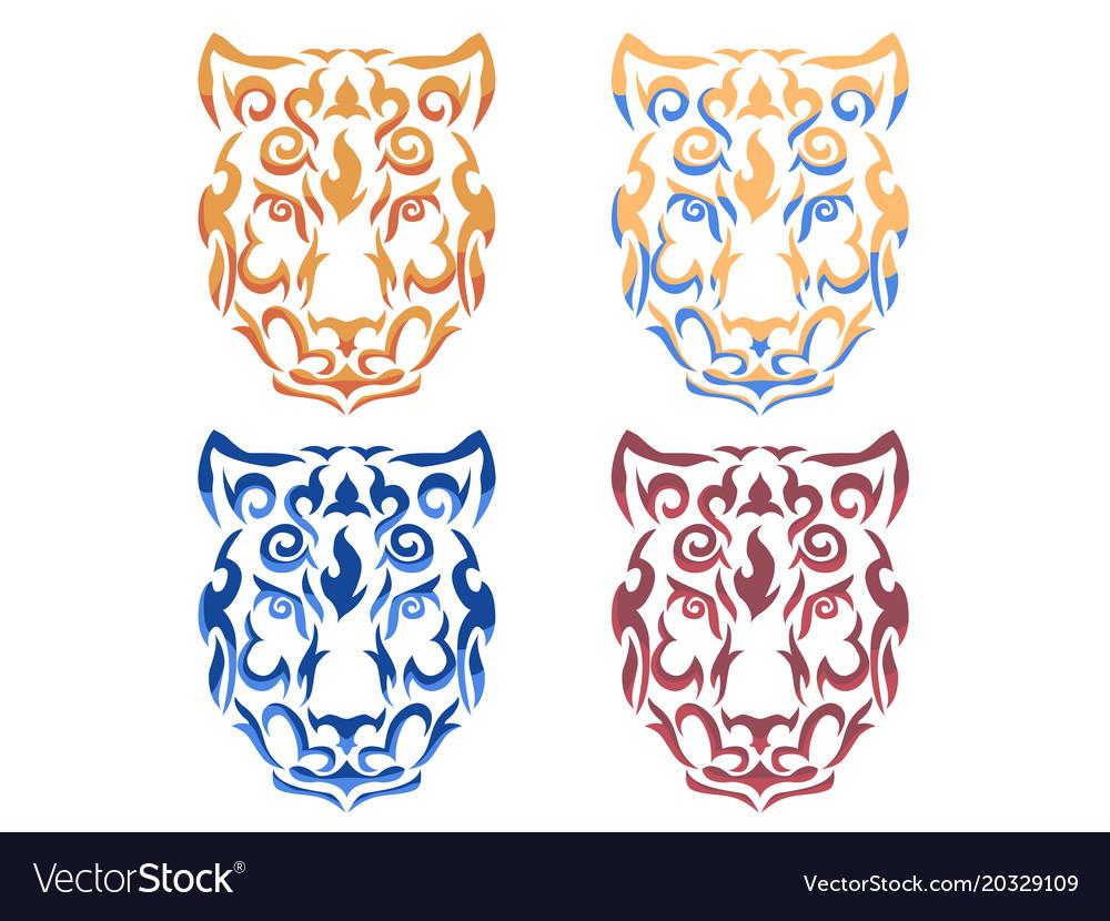 Tribal snow leopard vector image