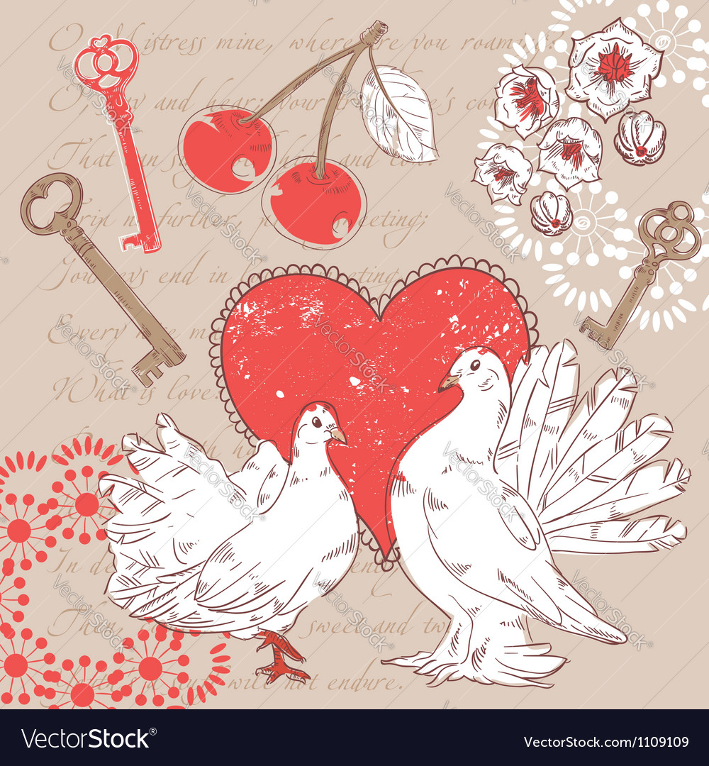 Valentine romantic postcard with hearts and doves