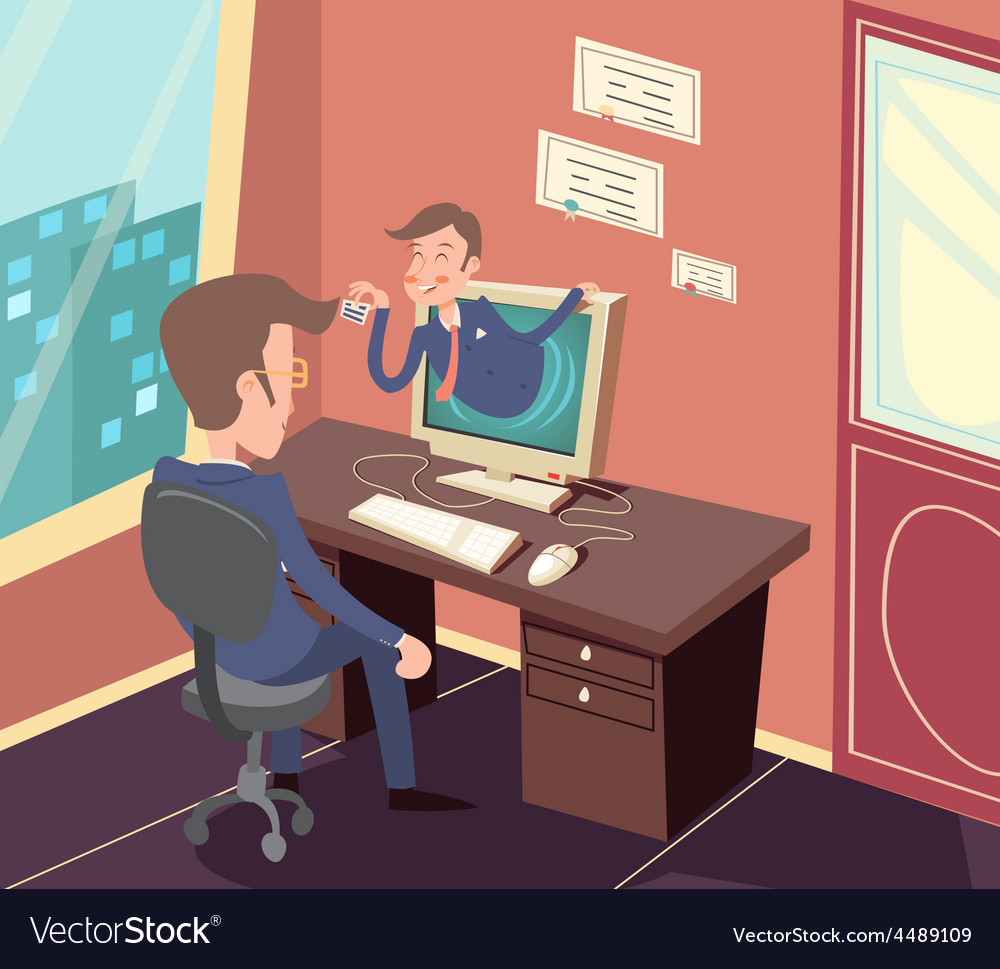 Vintage Retro Businessman Agent Online Visit to vector image