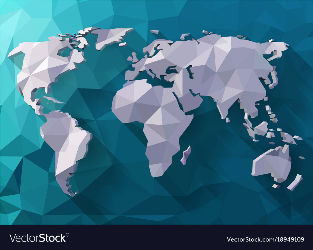 World map in polygonal style