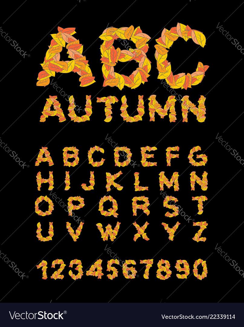 Autumn font yellow leaves of alphabet autumnal