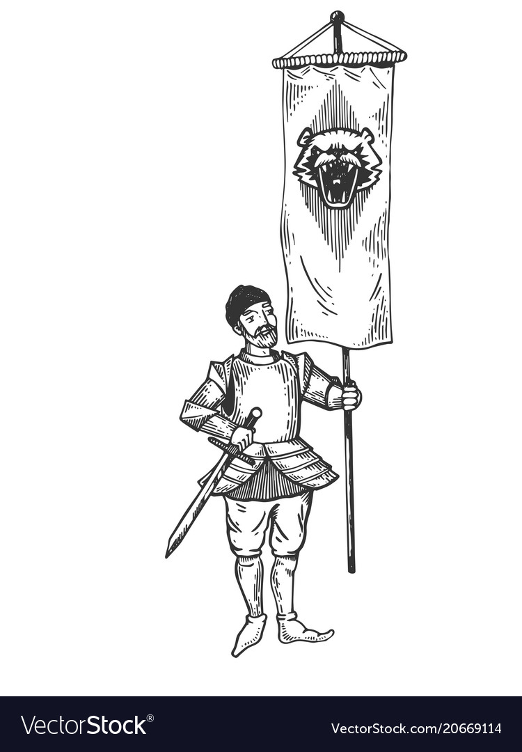 Banner bearer with standard engraving vector image