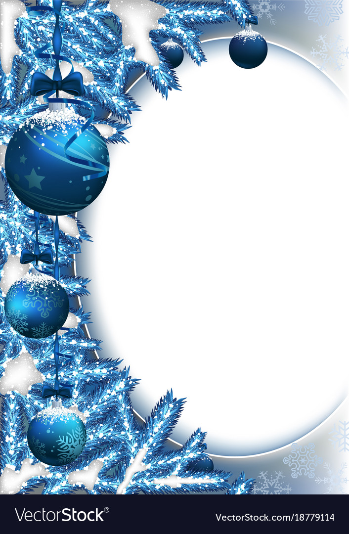 Christmas background with baubles and branches vector image
