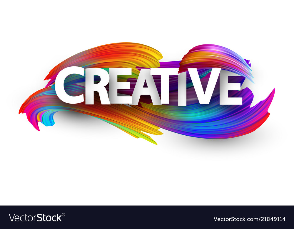 Creative paper poster with colorful brush strokes