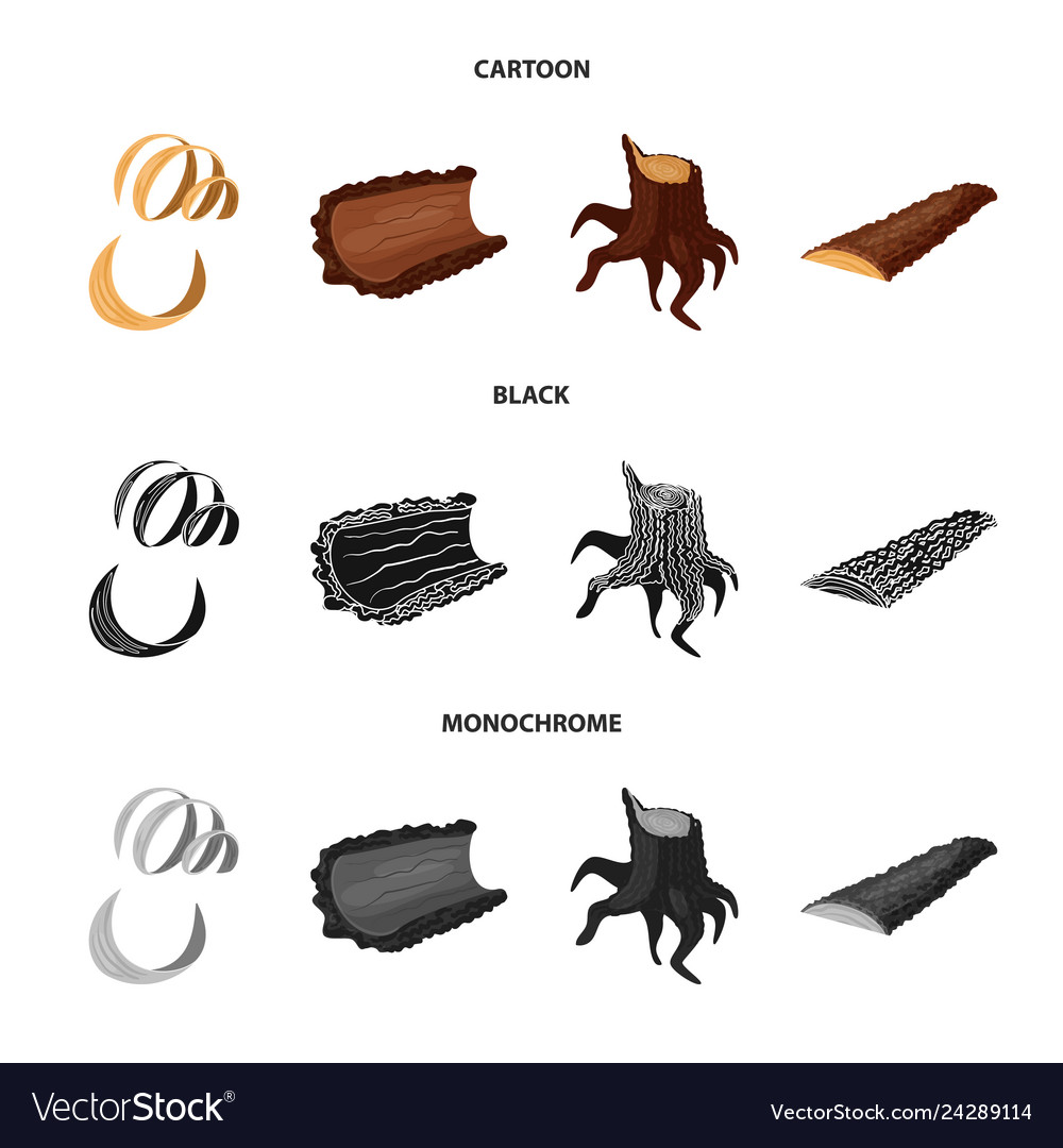 Design of tree and raw icon collection of