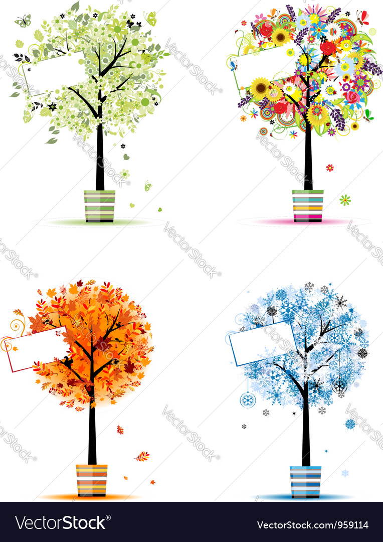 Four Seasons Spring Summer Autumn Winter Trees Vector Image