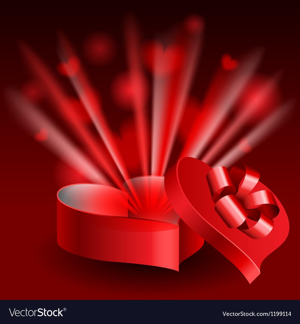 Glowing heart shaped box vector image