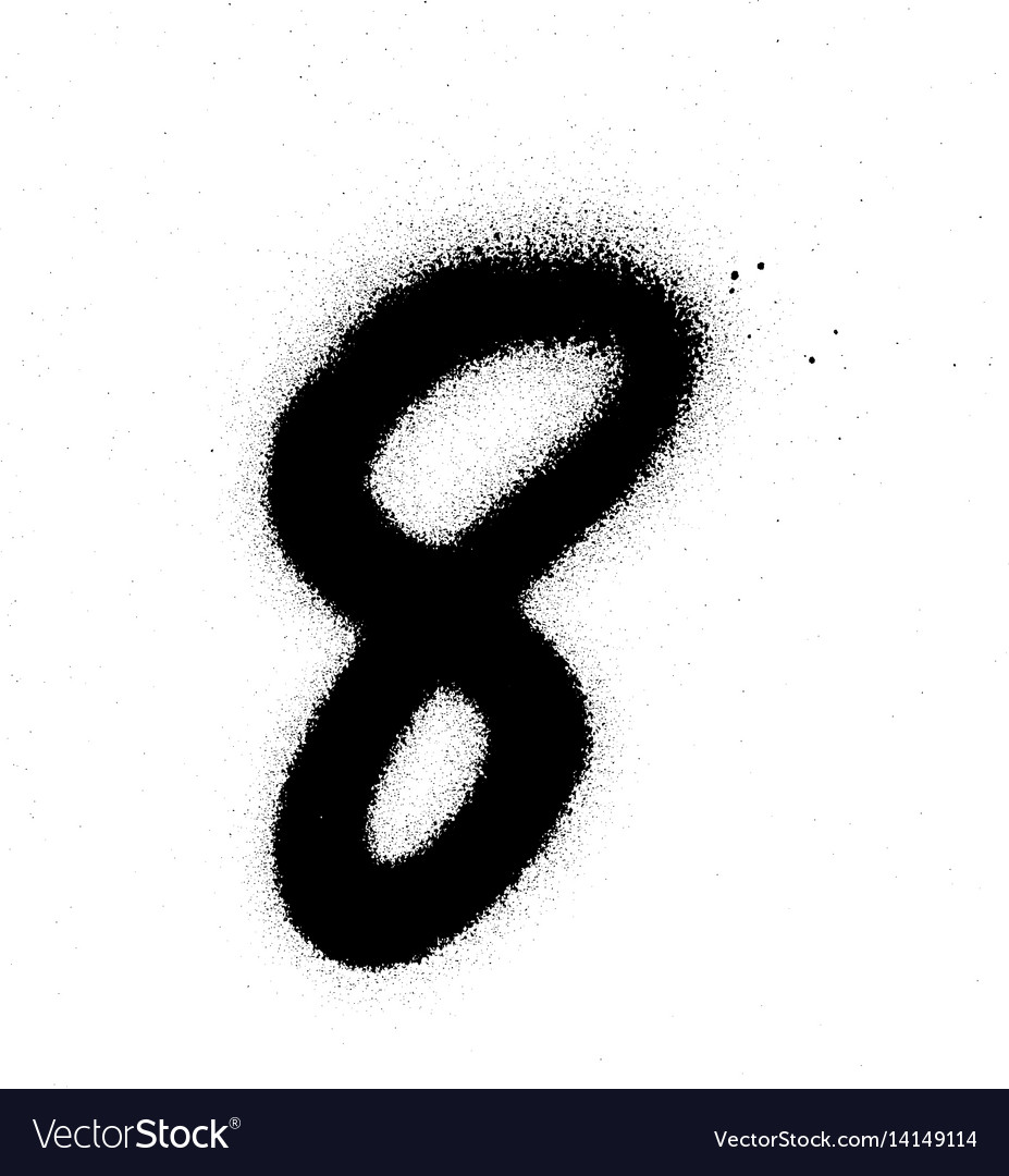Graffiti sprayed number 8 eight in black on white vector image