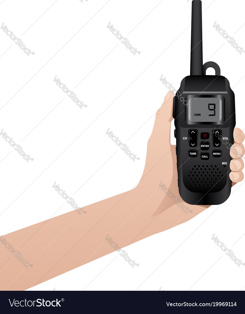Hand with realistic walkie talkie
