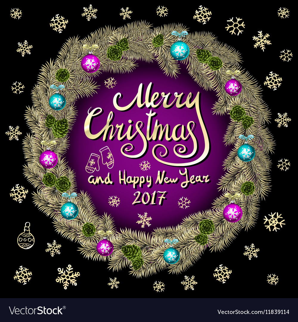 Merry Christmas And Happy New Year 2017 Vintage