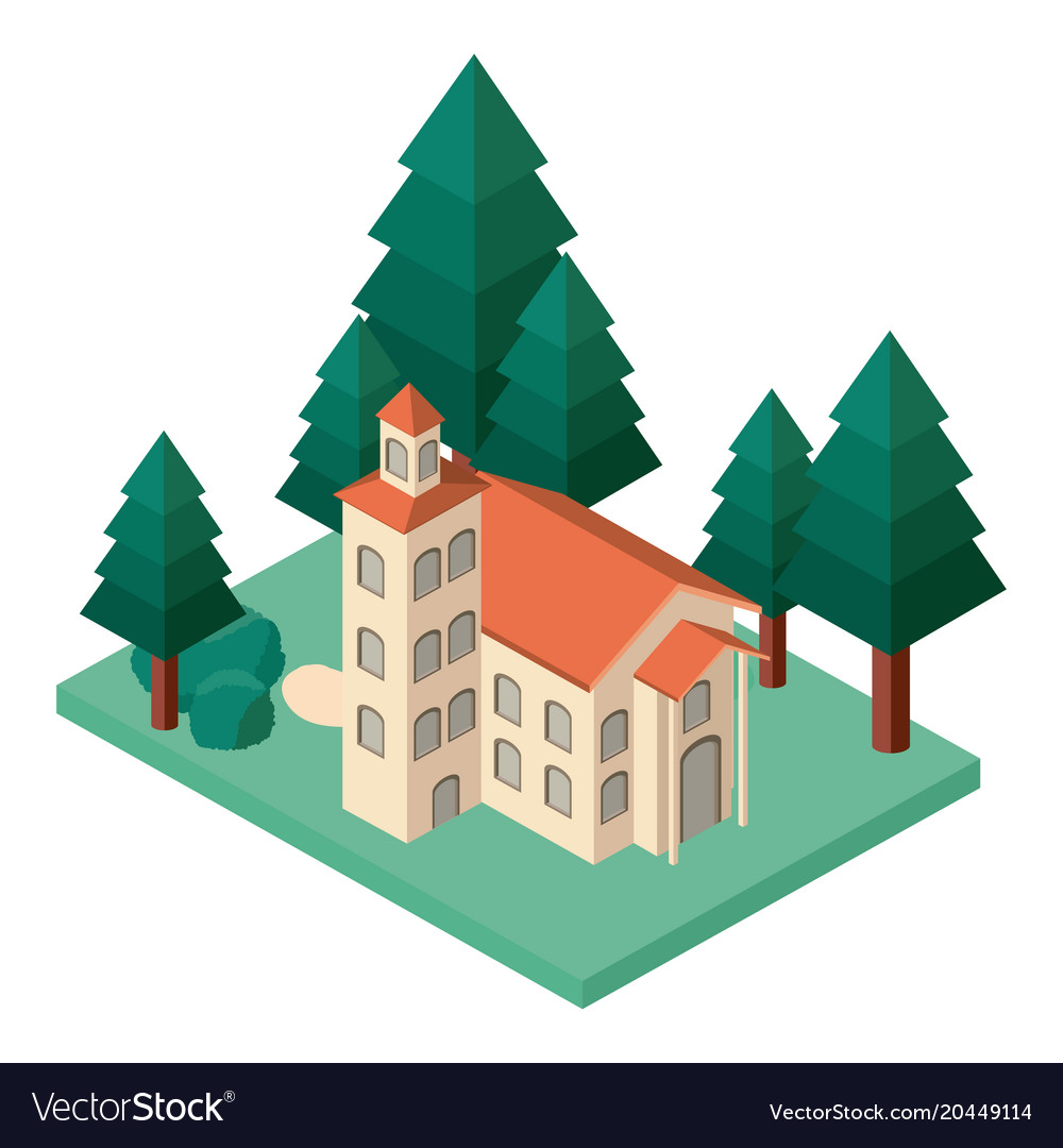 Mini tree and castle building isometric