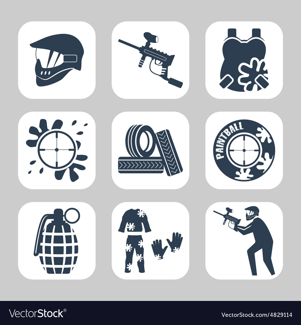 Paintball related icon set