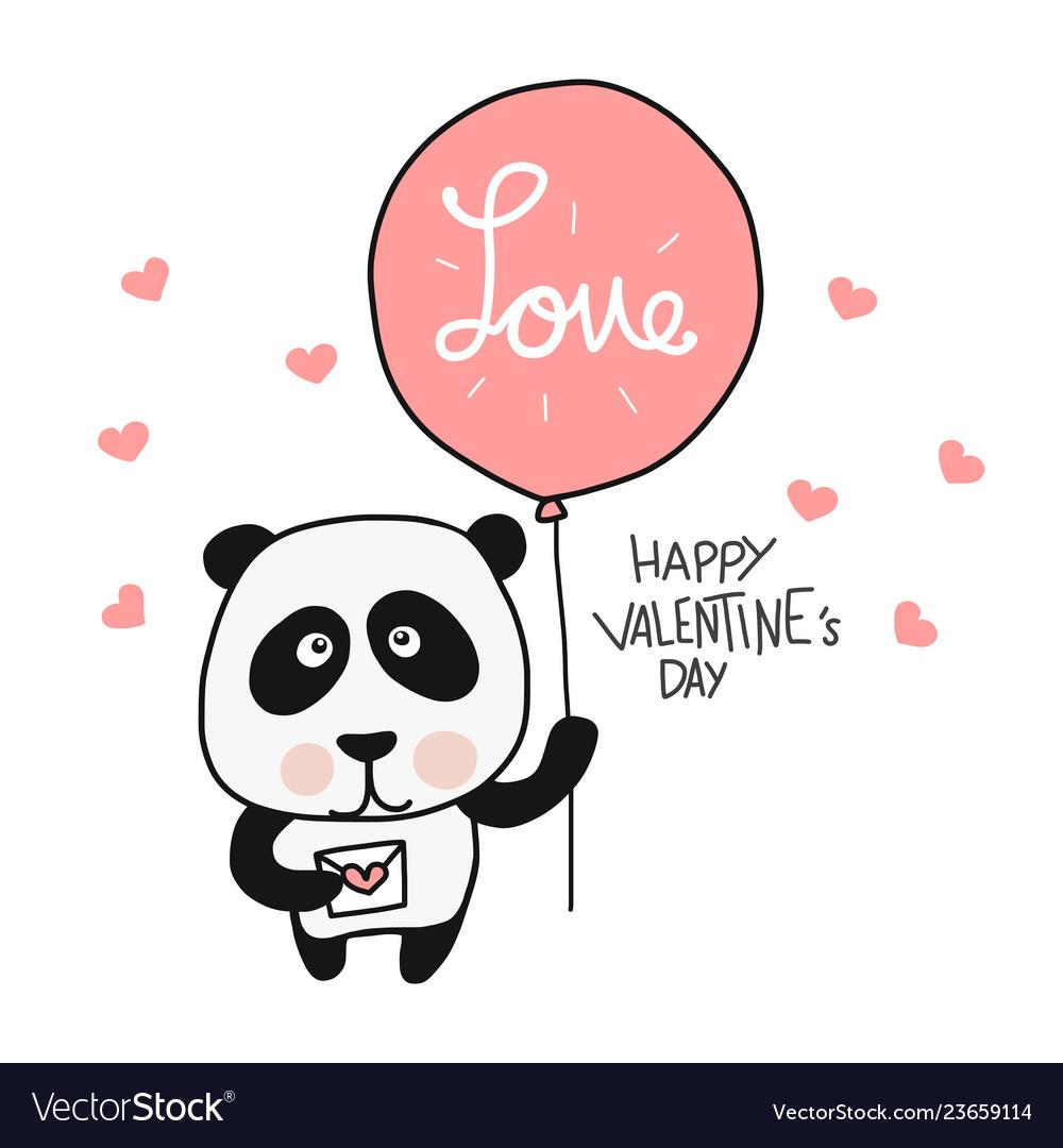 Panda with love balloon happy valentines day