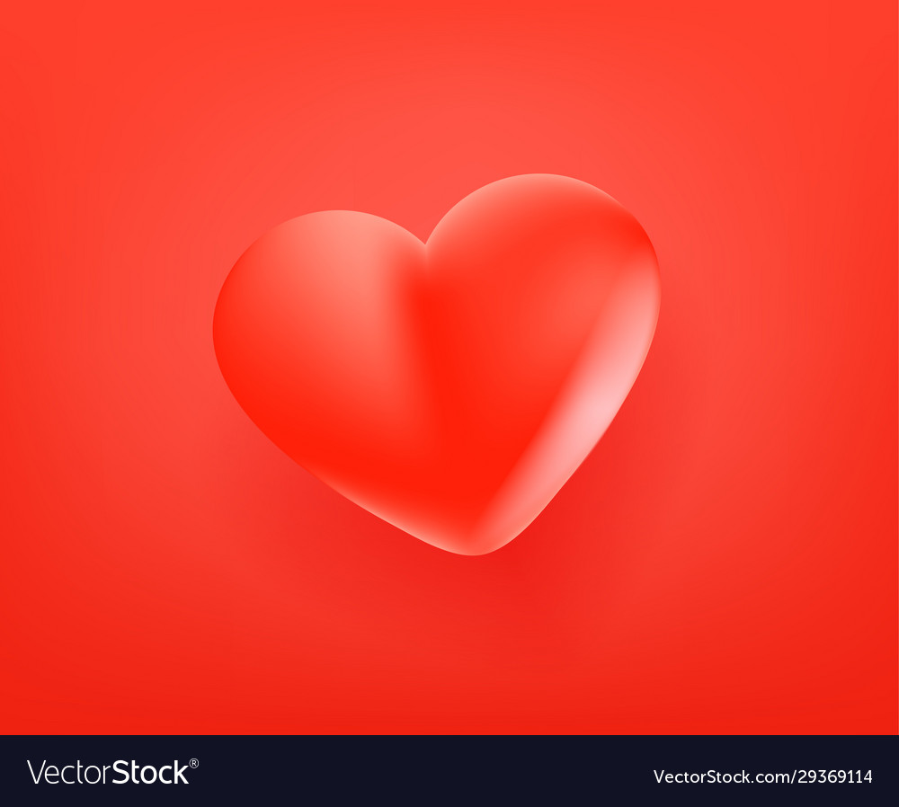 Red cute heart icon 3d comic style editable