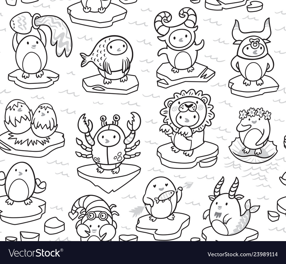 Seamless pattern of penguins zodiac signs in