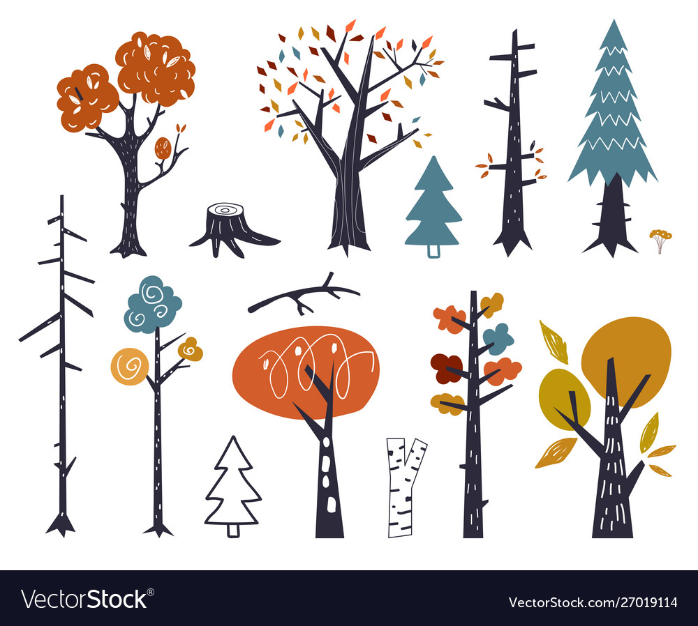 Set children drawings - cute forest and