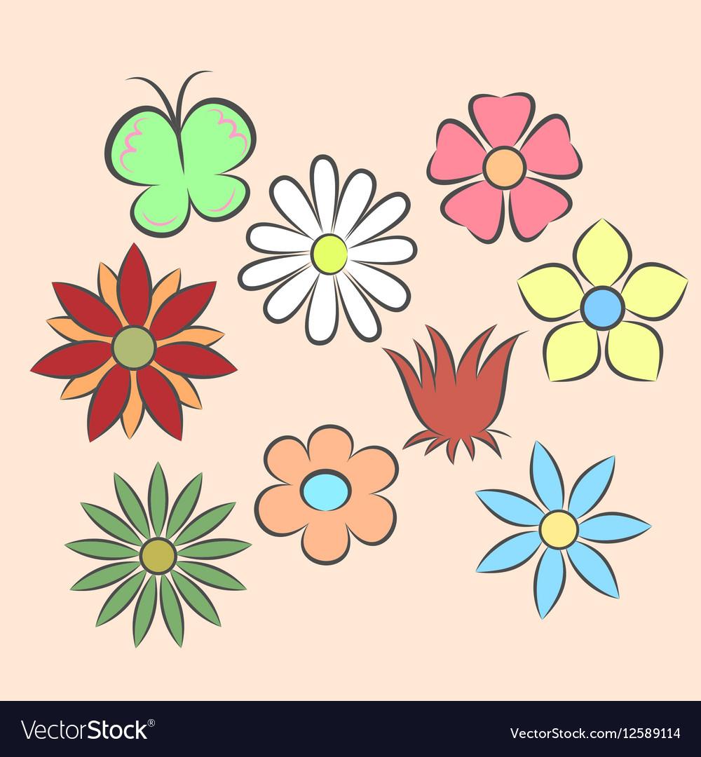 Set flat icon flower icons
