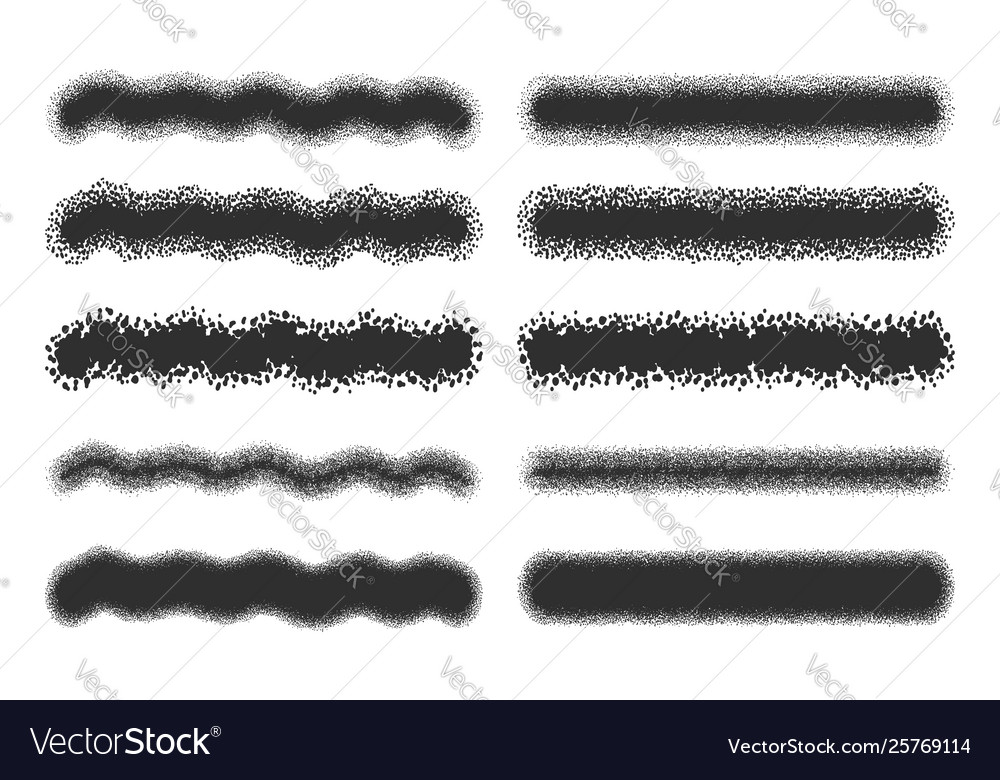 Spray strokes set black airbrushes isolated on
