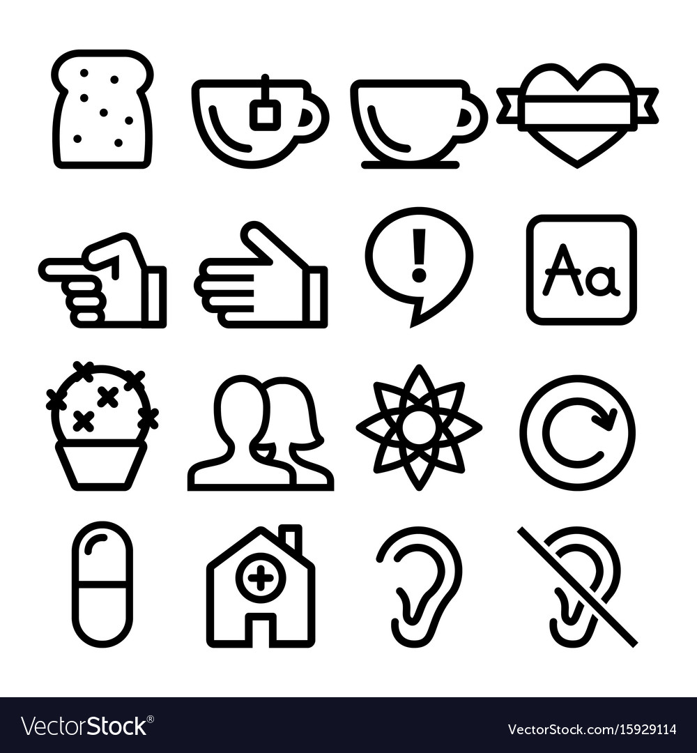 Web line icons website navigation flat design