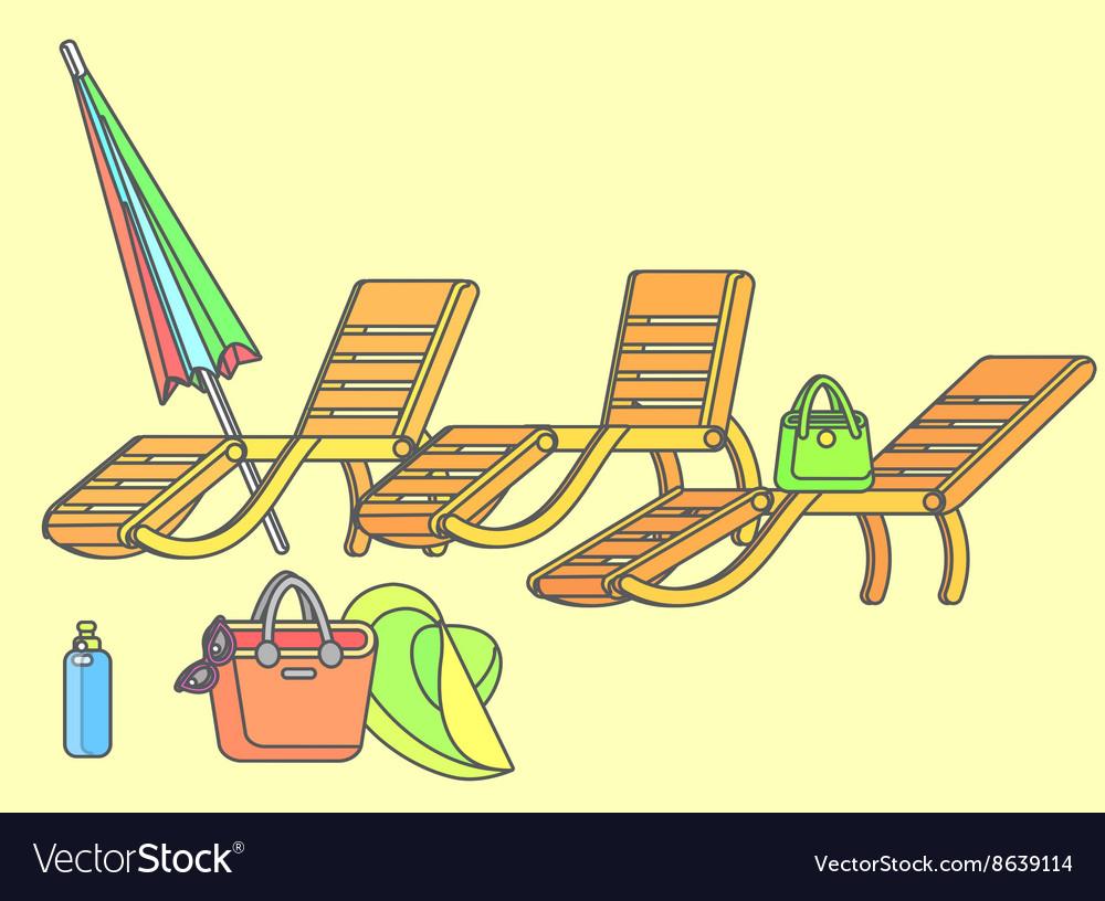 Wooden beach chaise longue