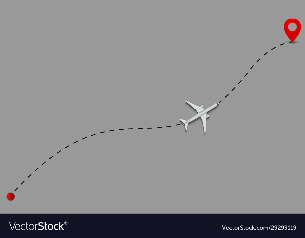 Airplane route dotted lines