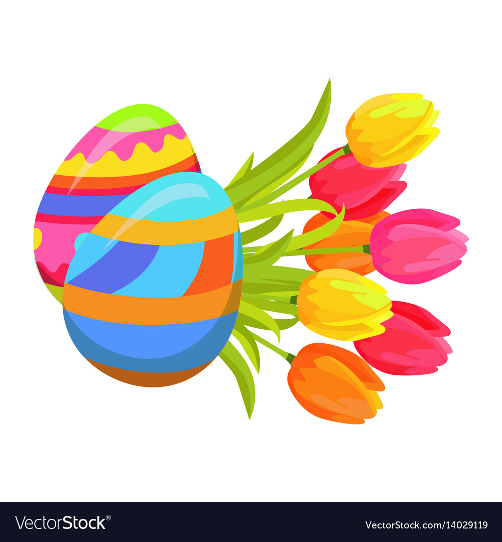 Beautifully colored eggs and festive tulips art vector image