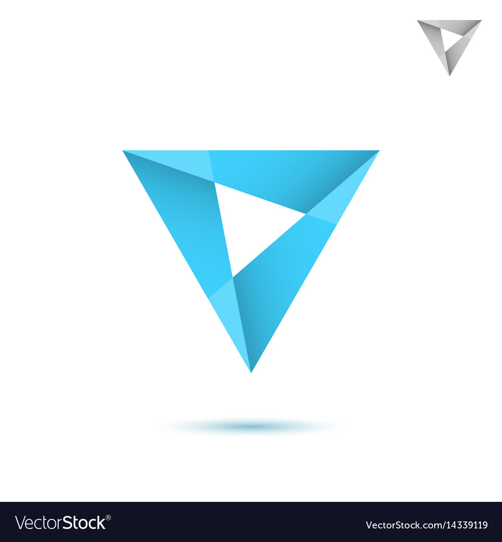 Blue mosaic triangle sign vector image