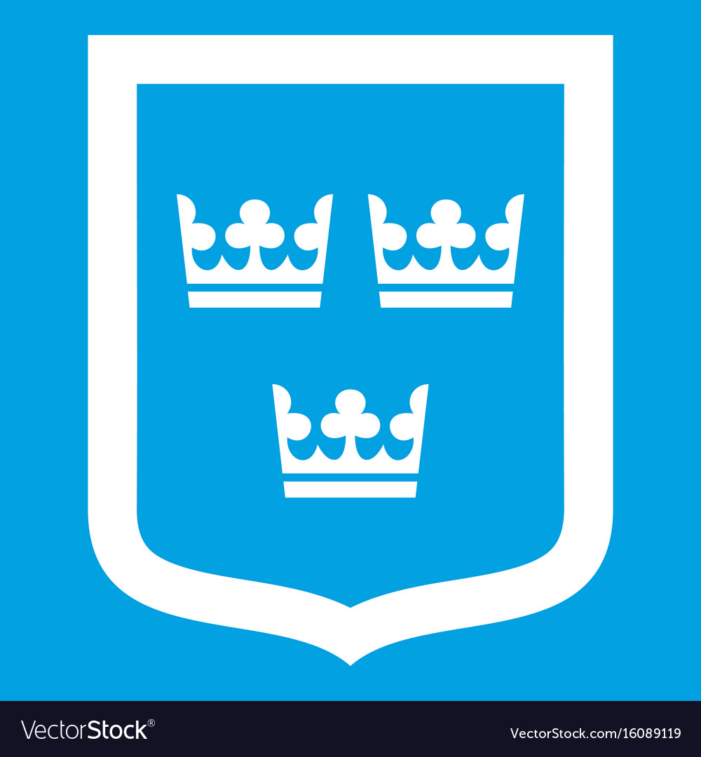 Coat of arms of sweden icon white vector image