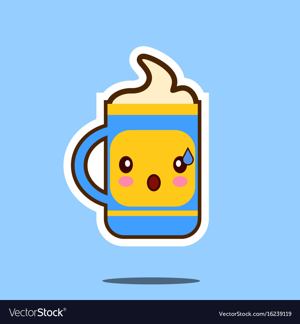 Cute cup of coffee cartoon character isolated on