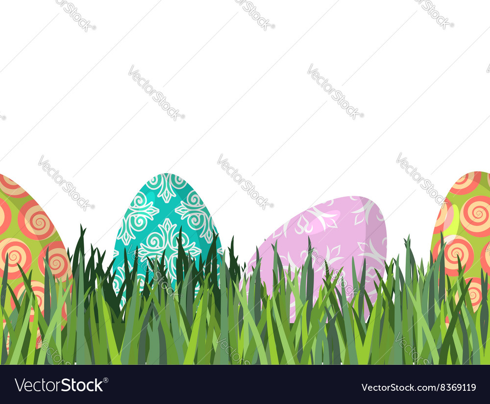 Easter eggs and green grass seamless horizontal