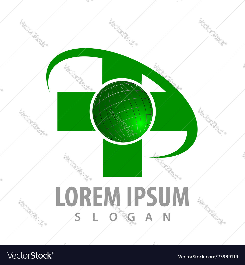 Green cross world logo concept design symbol