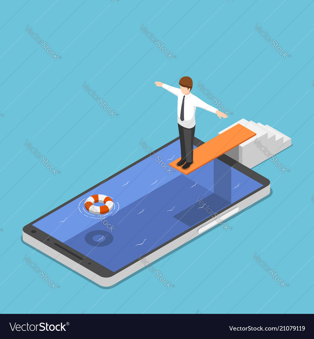 Isometric businessman on springboard ready to