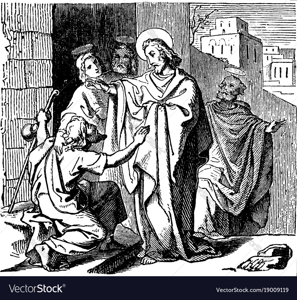 Jesus heals a blind beggar named bartimaeus at vector image