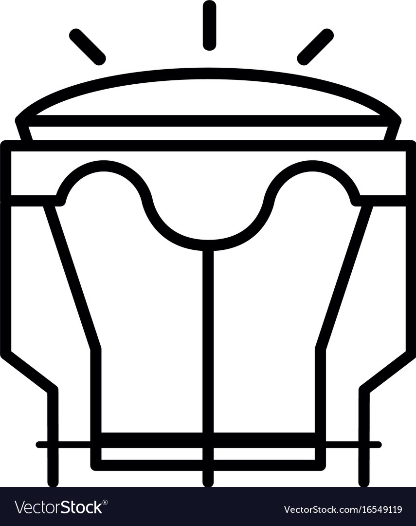 Line djembe music instrument to melody harmony vector image