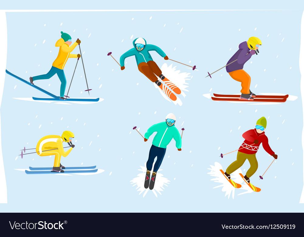 People skiing set in flat design