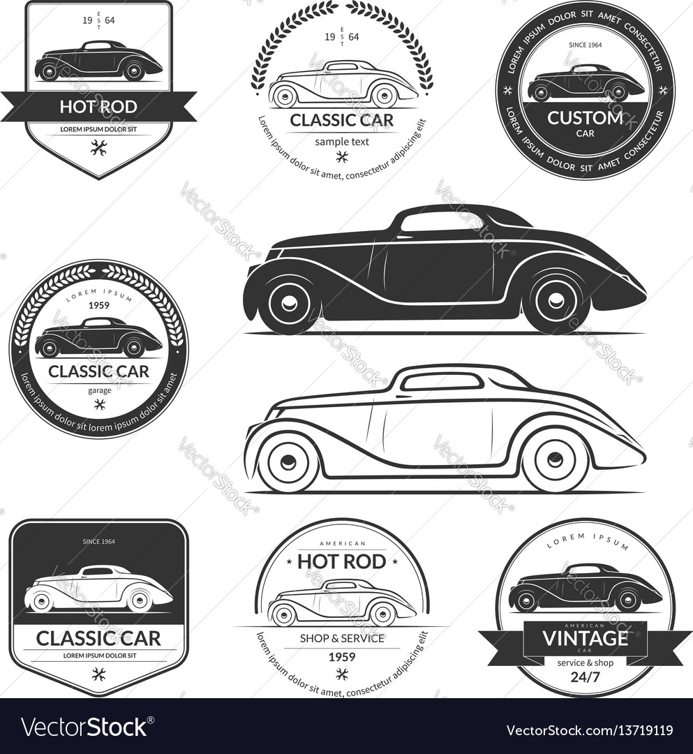 Set hot rod car labels emblems logos