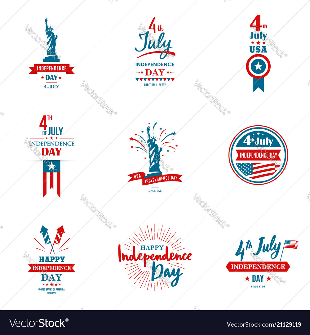 Set of greeting for united states independence
