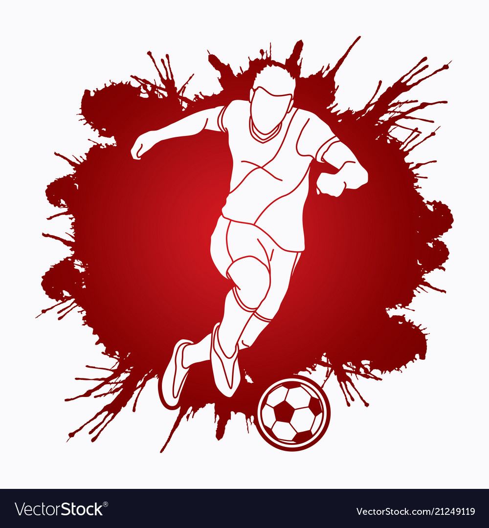 Soccer player running and kicking a ball