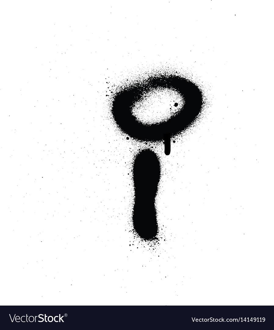 Sprayed i font graffiti with leak in black