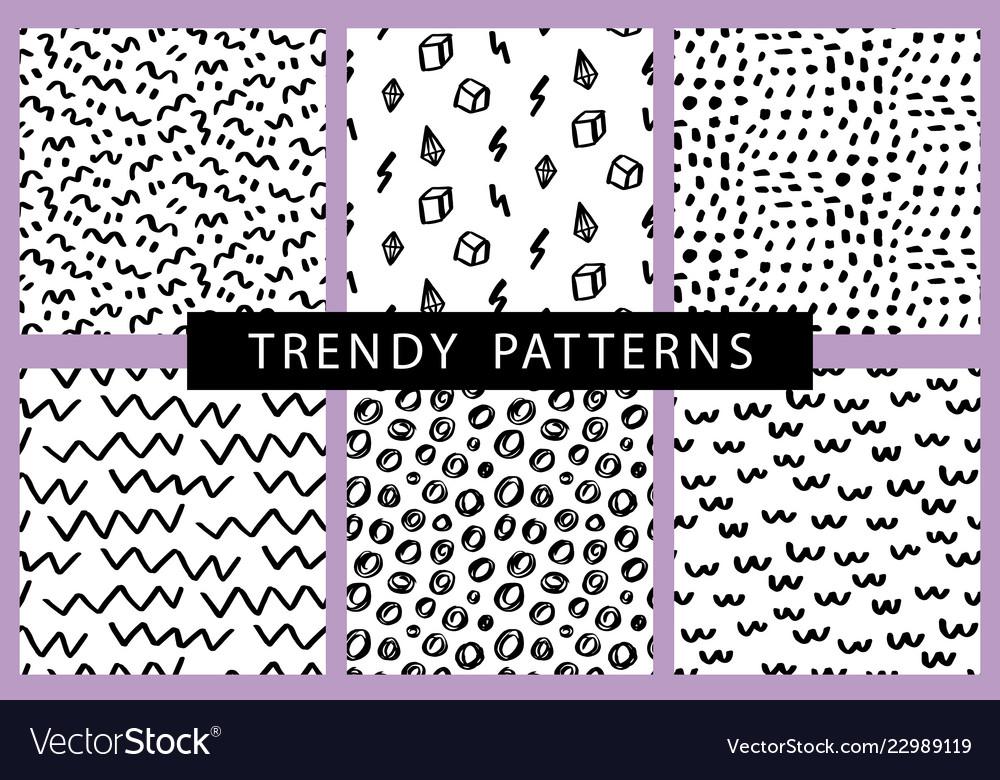 Trendy hand drawn minimal seamless patterns set