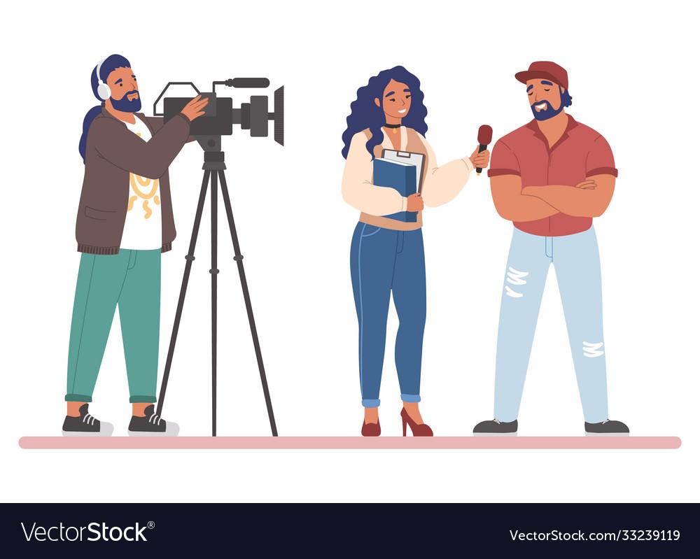 Tv journalist or news reporter street interview