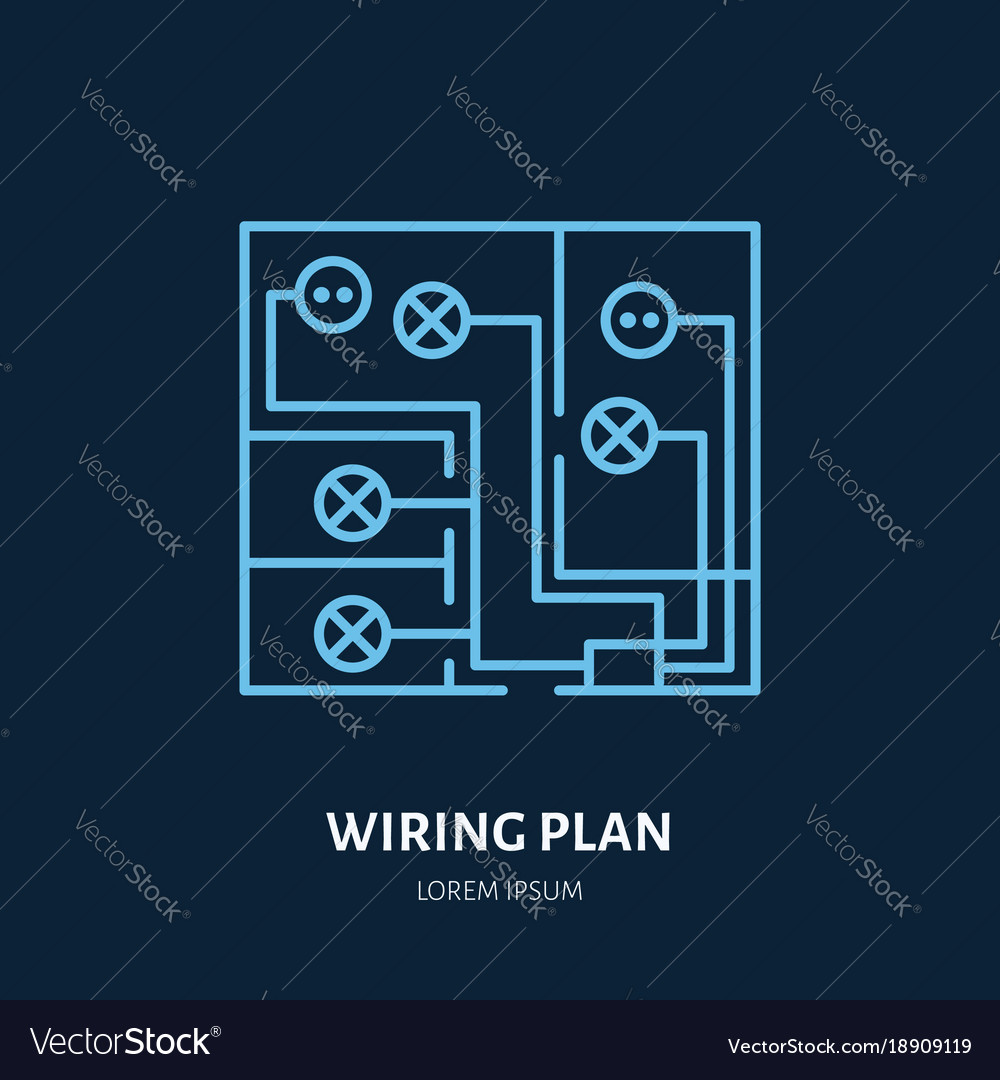 Wiring A Sign Diagram Libraries Amana Ap125hd Diagrams Plan Flat Line Icon Of Royalty Free Vector Imagewiring
