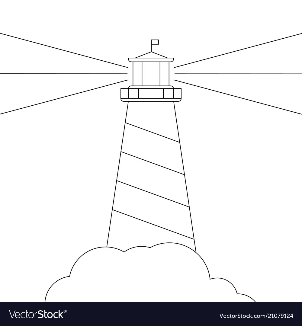 Black and white lighthouse isolated on vector image