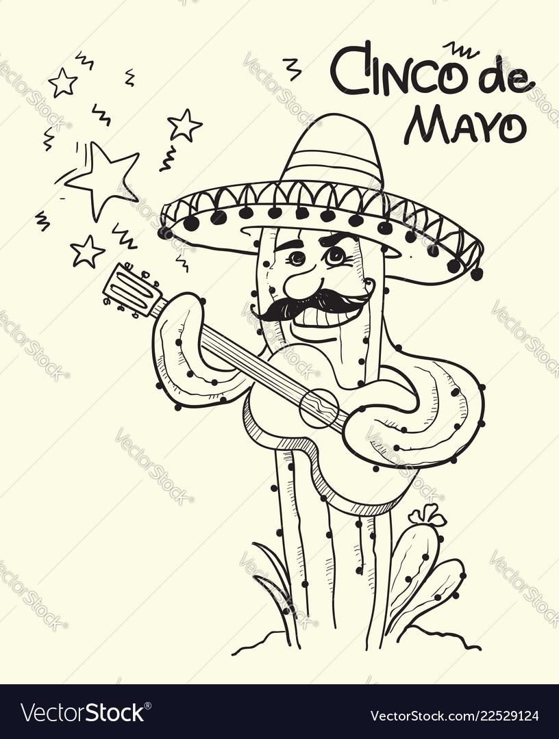 Cinco de mayo cactus playing the guitar