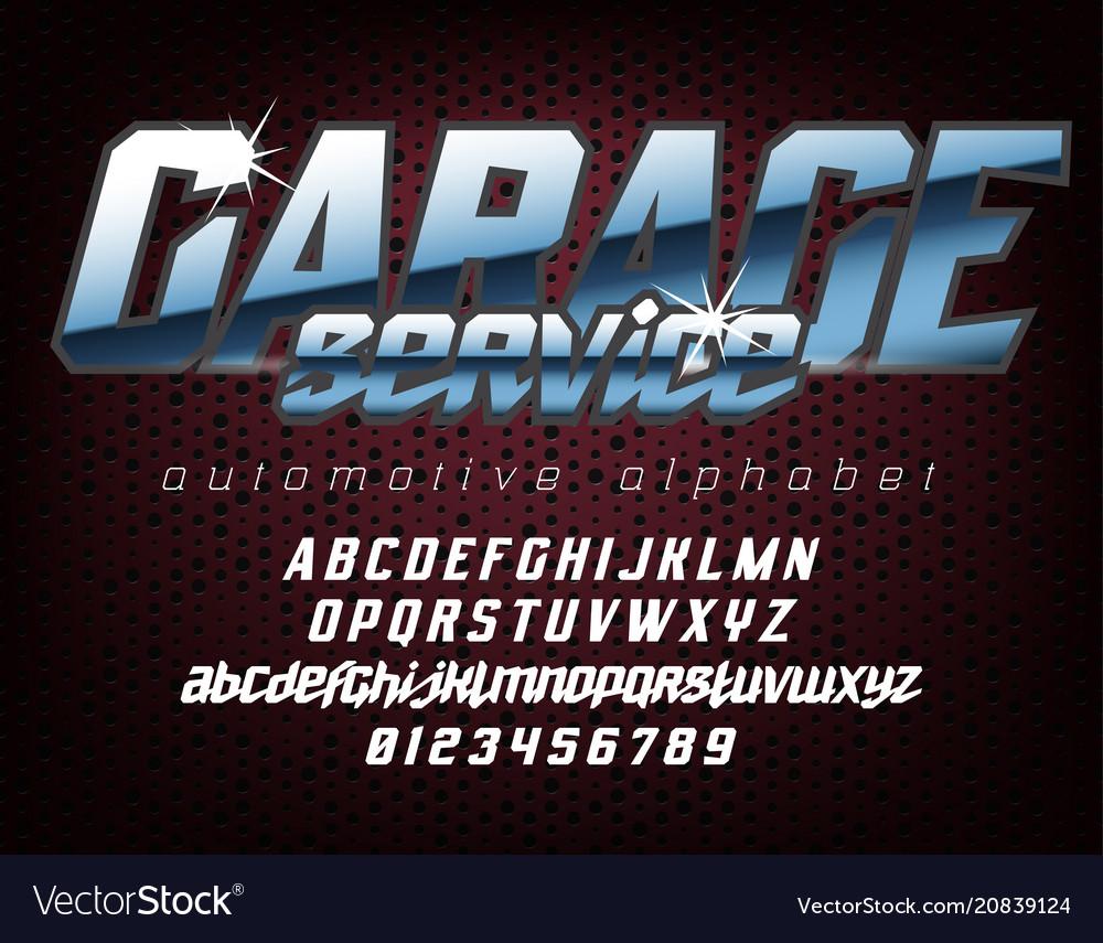 Cool automotive typeface