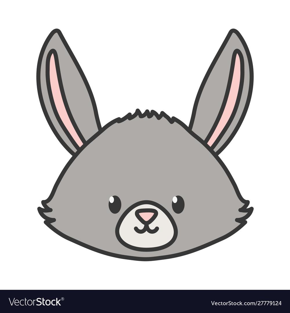 Cute rabbit head animal on white background