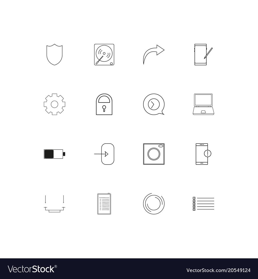 Devices simple linear icons set outlined icons