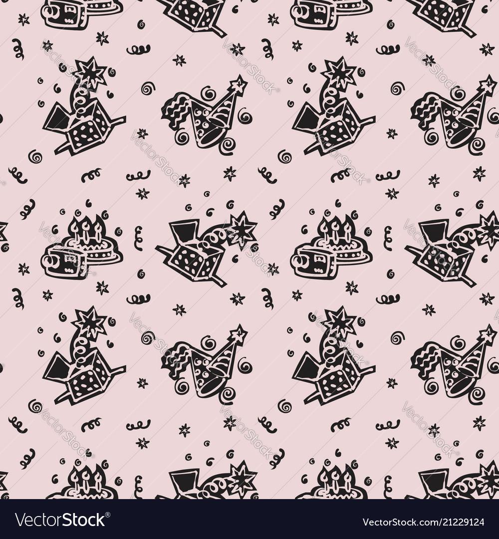 Happy birthday hand drawn pattern background with