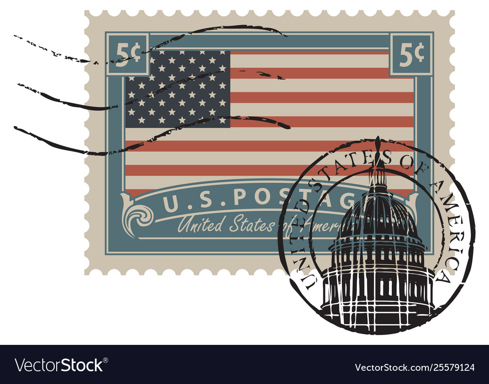 Postage stamp with image american flag